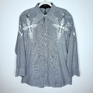 Roar gray white embroidered cross long sleeve